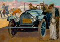 Mainstream Illustration, BROMPTON (American, 20th Century). Automotive advertisement.Oil on canvas. 21 x 30 in.. Signed lower left. ...