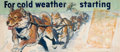 """Mainstream Illustration, AMERICAN ARTIST (20th Century). """"For Cold Weather Starting"""",Atlas Tire advertisement, 1949. Oil on unstretched canvas. ..."""