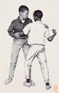 Paintings, NORMAN ROCKWELL (American, 1894-1978). The Scuffle, Dead End School book illustration, 1968. Pen and watercolor on paper...