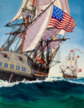 Mainstream Illustration, JOHN O'HARA COSGRAVE II (American, 1908-1968). Tall Ships, original cover art. Ink and watercolor on board. 13.25 x 10.2... (Total: 3 Items)