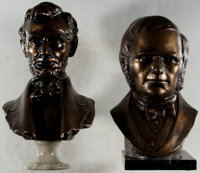 Busts of Abraham Lincoln and (Possibly) Stephen A. Douglas. Bronze finish on marble bases. 1990. Lincoln is approx. 1