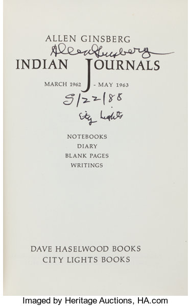 Allen Ginsberg Lot Of Two First Editions Including Indian
