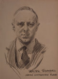Mainstream Illustration, JAMES MONTGOMERY FLAGG (American, 1877-1960). Portrait of WalterTrumball. Charcoal and conte crayon on paper. 19 x 14.2...