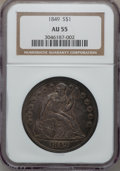 Seated Dollars, 1849 $1 AU55 NGC....