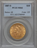 Liberty Eagles: , 1887-S $10 MS62 PCGS. PCGS Population (266/82). NGC Census:(483/73). Mintage: 817,000. Numismedia Wsl. Price for problem f...