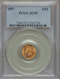 Gold Dollars: , 1857 G$1 AU55 PCGS. PCGS Population (127/525). NGC Census:(67/957). Mintage: 774,789. Numismedia Wsl. Price for problem fr...