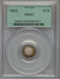 Three Cent Silver: , 1862 3CS MS63 PCGS. PCGS Population (213/574). NGC Census:(164/664). Mintage: 343,000. Numismedia Wsl. Price for problem f...