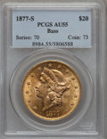 Liberty Double Eagles: , 1877-S $20 AU55 PCGS. Ex: Bass. PCGS Population (211/1239). NGCCensus: (84/1831). Mintage: 1,735,000. Numismedia Wsl. Pric...