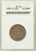Seated Quarters: , 1876-CC 25C VF20 ANACS. NGC Census: (6/247). PCGS Population(11/322). Mintage: 4,944,000. Numismedia Wsl. Price for proble...