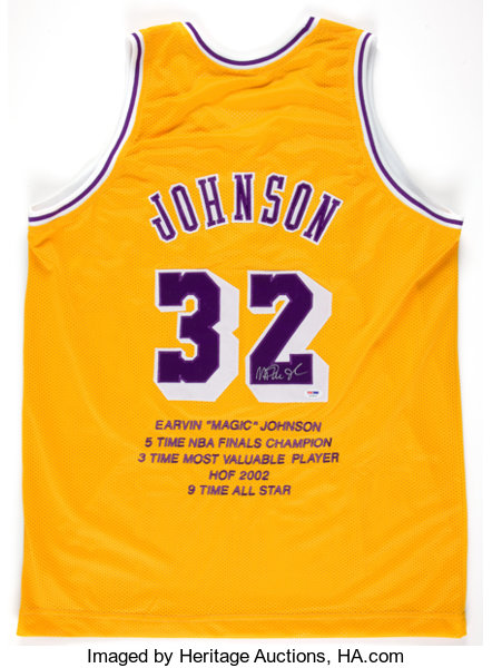 competitive price a0486 56f8b Magic Johnson Signed Los Angeles Lakers Jersey ...