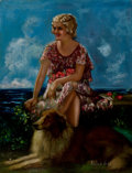 Pin-up and Glamour Art, ADELAIDE HIEBEL (American, 1879-1965). Sitting by the Sea.Oil on canvas. 39 x 30 in.. Signed twice lower right. ...