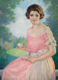 Pin-up and Glamour Art, BRADSHAW CRANDELL (American, 1896-1966). A SpringtimeBeauty. Pastel on board. 37 x 27 in.. Signed lower left. ...