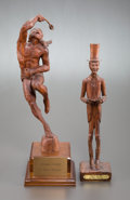 Fine Art - Sculpture, American, WAYNE BERGMAN (American, 20th Century). Stickball Players(pair). Wood. Larger: 20 inches (50.8 cm). Both initialed onb... (Total: 2 Items)