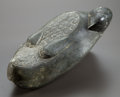 Sculpture, BOB HAOZOUS (American, b. 1943). Wounded Parrot, 1976. Olivine stone. 6 inches (15.2 cm). Signed and dated on base: Ha...