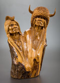 Fine Art - Sculpture, American, WILLARD MORIN (Canadian/American, 20th Century). Wolf Man (groupof three). Wood. Largest: 23-1/2 inches (59.7 cm). Each...(Total: 3 Items)