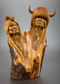 WILLARD MORIN (Canadian/American, 20th Century) Wolf Man (group of three) Wood Largest: 23-1/2 in