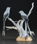 Sculpture, PHILLIP ZELLER (American, 20th Century). Scissor-Tailed Flycatchers, 1977. Wood carving. 13-1/2 inches (34.3 cm). No. 15...