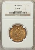 Liberty Eagles: , 1901-O $10 AU58 NGC. NGC Census: (104/274). PCGS Population(60/297). Mintage: 72,041. Numismedia Wsl. Price for problem fr...