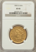 Liberty Eagles: , 1843-O $10 XF45 NGC. NGC Census: (69/244). PCGS Population (62/64).Mintage: 175,162. Numismedia Wsl. Price for problem fre...