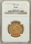 Liberty Eagles: , 1851 $10 XF45 NGC. NGC Census: (51/177). PCGS Population (39/50).Mintage: 176,328. Numismedia Wsl. Price for problem free ...