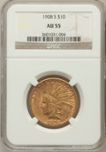 Indian Eagles: , 1908-S $10 AU55 NGC. NGC Census: (129/346). PCGS Population(91/304). Mintage: 59,850. Numismedia Wsl. Price for problem fr...