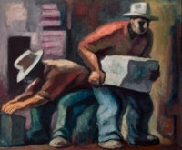 JOSÉ CHÁVEZ MORADO (Mexican, 1909-2002) The Workers, 1962 Oil on canvas 31 x 37 inches (78.7 x 94