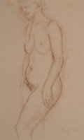 Fine Art - Work on Paper:Drawing, CHARLES DESPIAU (French, 1874-1946). Nude. Crayon on paper.13-1/2 x 8-1/4 inches (34.3 x 21.0 cm) (window). Signed lowe...