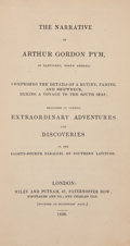 Books:Literature Pre-1900, Edgar Allan Poe. The Narrative of Arthur Gordon Pym. London:Wiley and Putnam, 1838. First English edition of Poe's ...