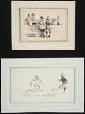 """Books:Original Art, Thomas Worth. Two Original Ink Drawings Entitled """"Crabbin'"""" and """"The New R. T. Tunnel"""".... (Total: 2 Items)"""