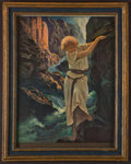 """Books:Prints & Leaves, Maxfield Parrish. """"Canyon"""". New York: [n.d., ca. 1920's].Chromolithograph reproduction of Parrish's original painting...."""