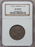 Colonials: , 1723/2 1/2P Hibernia Halfpenny XF40 NGC. NGC Census: (1/8). PCGSPopulation (1/26). (#183). From The Cornerstone Collec...