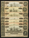 Confederate Notes:1864 Issues, T67 $20 1864 Seven Examples.. ... (Total: 7 notes)