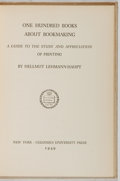 Books:Books about Books, Hellmut Lehmann-Haupt. One Hundred Books About Bookmaking.Columbia University Press, 1949. Third edition. Forme...