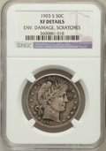 Barber Half Dollars, 1903-S 50C -- Env Damage, Scratches -- NGC Details. XF. NGC Census:(1/79). PCGS Population (15/91). Mintage: 1,920,772. Nu...