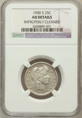 Barber Quarters, 1900-S 25C --Improperly Cleaned--NGC Details. AU. NGC Census:(4/81). PCGS Population (24/151). Mintage: 1,858,585. Numismed...