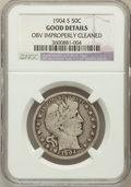 Barber Half Dollars, 1904-S 50C -- Obv Improperly Cleaned -- NGC Details. Good. NGCCensus: (11/95). PCGS Population (21/325). Mintage: 553,038....
