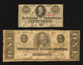 Confederate Notes:1863 Issues, T62 $1 1863;. T63 50¢ 1863.. ... (Total: 2 notes)