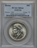 Commemorative Silver: , 1935/34 50C Boone MS66 PCGS. PCGS Population (226/39). NGC Census:(248/44). Mintage: 10,008. Numismedia Wsl. Price for pro...