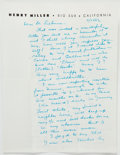 Books:Literature 1900-up, Henry Miller. Autograph Letter Signed. Big Sur, 11/24/52. Two pagesdescribing Miller's struggles to work on Nexus.... (Total: 3Items)