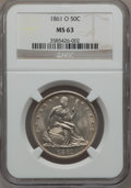 Seated Half Dollars, 1861-O 50C MS63 NGC....