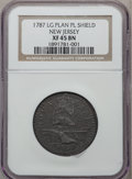 Colonials, 1787 COPPER New Jersey Copper, Outlined Shield XF45 NGC. Maris64-t, W-5380, R.1....