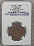 Colonials, 1787 1C Fugio Cent, STATES UNITED, Raised Rim -- Reverse PlanchetFlaw -- NGC Details. XF Details. N. 19-Z, W-6975, R.5....