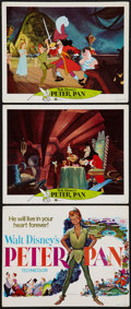 "Movie Posters:Animation, Peter Pan (Buena Vista, R-1969). Title Lobby Card (11"" X 14"") & Lobby Cards (2) (11"" X 14""). Animation.. ... (Total: 3 Items)"