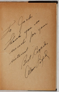 Graham Greene. INSCRIBED BY ALAN LADD. This Gun for Hire. Triangle, 1942. Later edition. Ins