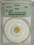 California Fractional Gold: , 1872/1 25C Indian Round 25 Cents, BG-870, R.3, MS63 PCGS. PCGSPopulation (78/84). NGC Census: (5/17). (#10731)...