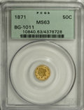 California Fractional Gold: , 1871 50C Liberty Round 50 Cents, BG-1011, R.2, MS63 PCGS. PCGSPopulation (80/92). NGC Census: (8/17). (#10840)...