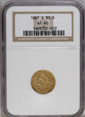 Liberty Quarter Eagles: , 1861-S $2 1/2 XF40 NGC. NGC Census: (12/54). PCGS Population(5/36). Mintage: 24,000. Numismedia Wsl. Price: $1,250. (#7795...