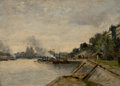 Fine Art - Painting, European:Antique  (Pre 1900), JULES PETILLION (French, 1845-1899). Two River Landscapes withCity Views across the Water (double-sided painting), ...