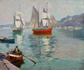Fine Art - Painting, American:Modern  (1900 1949)  , ANTHONY THIEME (American, 1888-1954). Boats off the Coast.Oil on canvas laid on board. 25-1/4 x 30 inches (64.1 x 76.2 ...