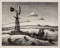 THOMAS HART BENTON (American, 1889-1975) West Texas, 1952 Lithograph Image: 10-3/4 x 13-3/4 inche